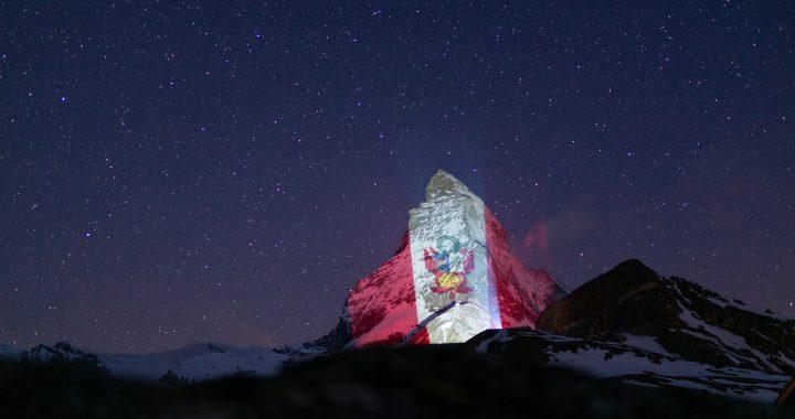 """Bandera peruana fue proyectada en los alpes suizos como señal de """"esperanza y solidaridad"""""""