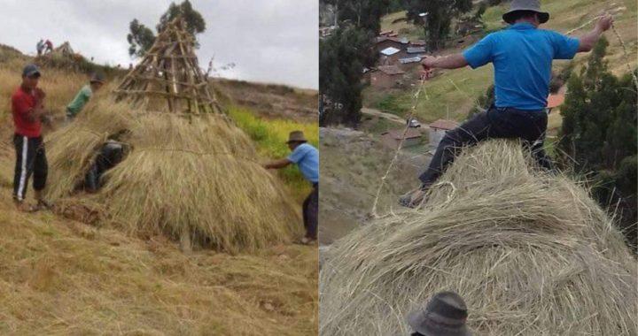 Pobladores de Ayacucho construyen viviendas de ichu para retornantes por cuarentena